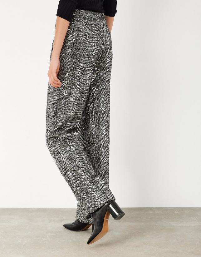 Wide-cut shiny silver pants