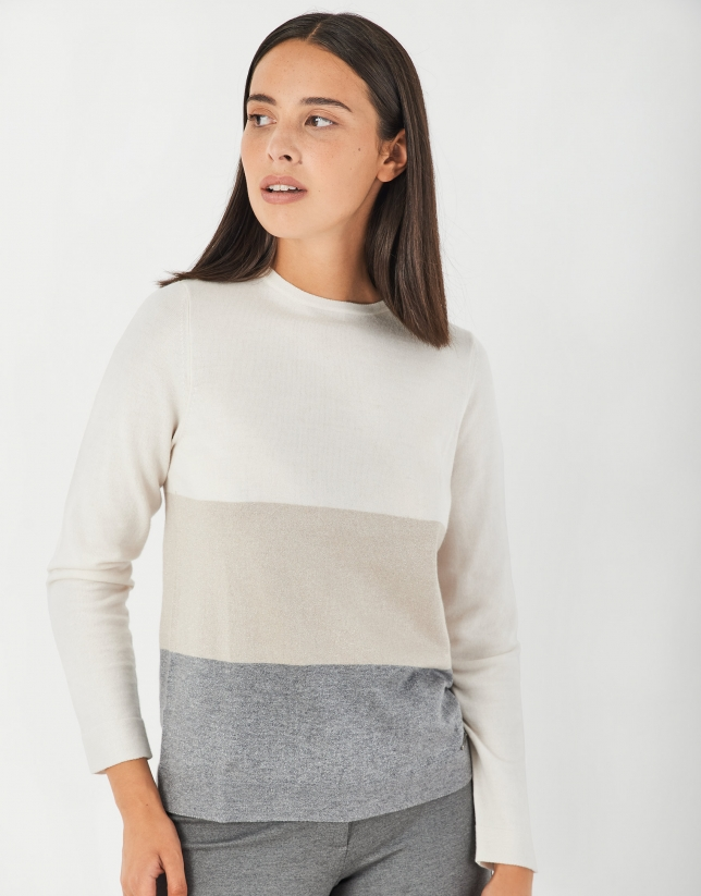 Jersey punto fino crudo, beige y gris