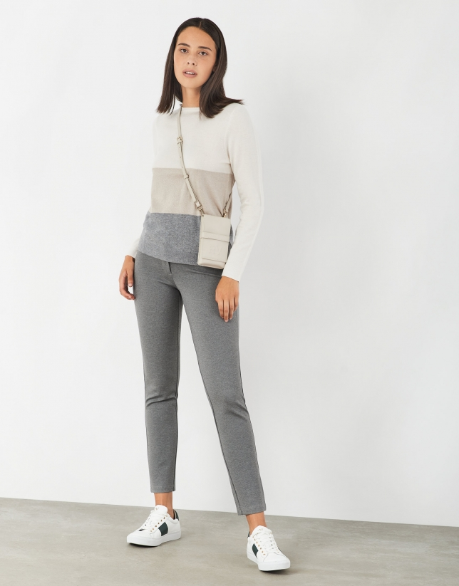 Off white, beige and gray knit sweater