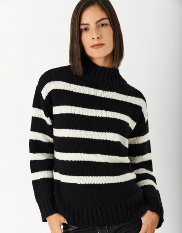 Black and white striped sweater with Perkins collar