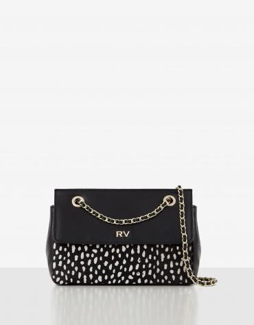 Black Ghauri leather and white polka shoulder bag