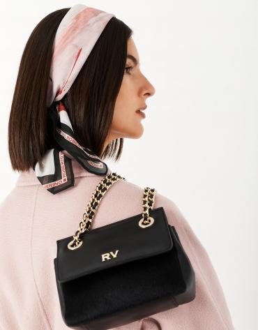 Black Mini Ghauri leather and fur shoulder bag