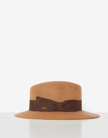 Sombrero fedora fieltro cámel cinta marrón