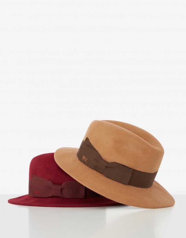 Camel felt fedora hat with brown ribbon