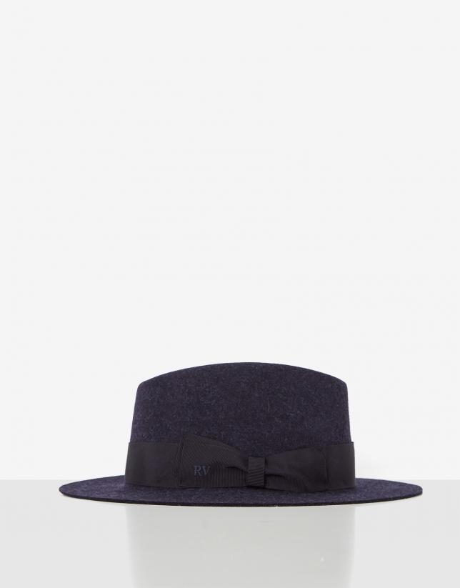 Blue felt fedora hat with matching ribbon