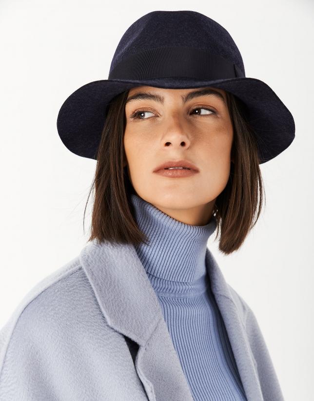 Sombrero fedora fieltro azul cinta a tono