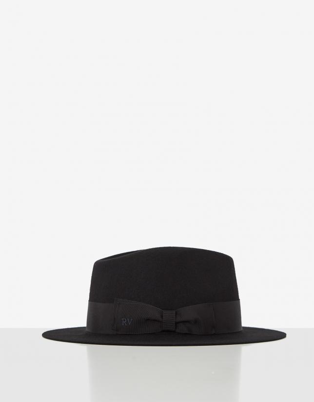 Black felt fedora hat with matching ribbon