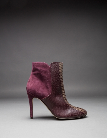 Burgundy leather Gante ankle boots with embossed snake, old gold strip and suede