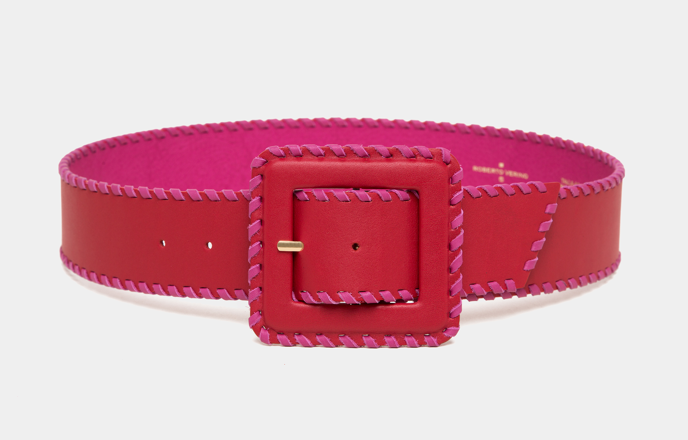 Red leather backstitched belt