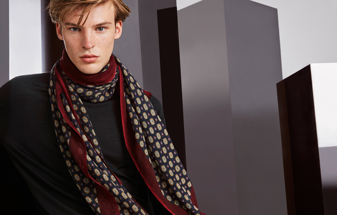Gold, burgundy and navy blue ethnic print foulard