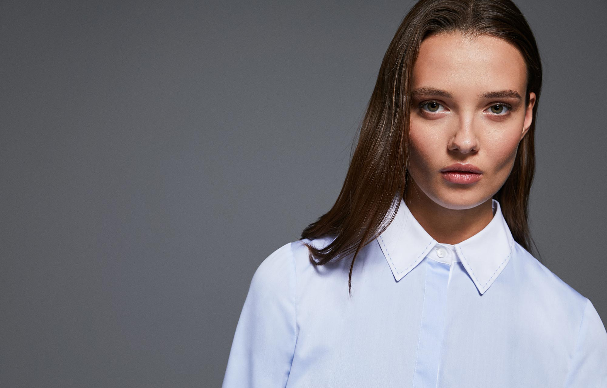 Light blue and white cotton shirt