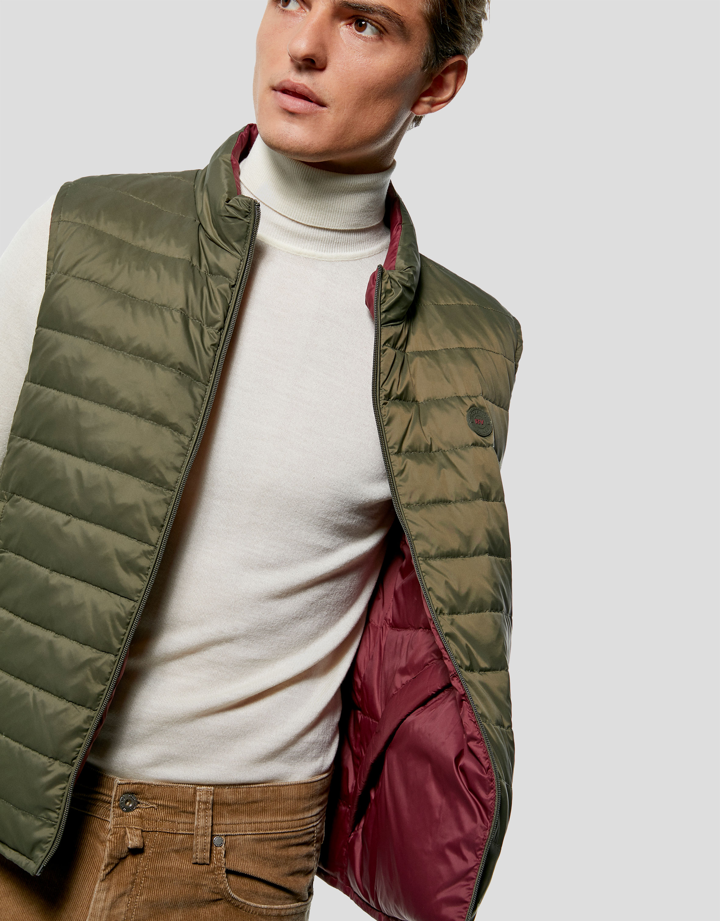 Khaki and burgundy, reversible, sport vest