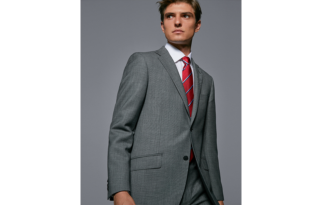 Grey bird's eye weave regular fit suit