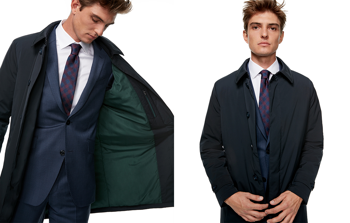 Navy blue tech fabric trench coat