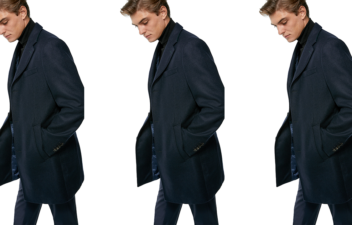 Navy blue coat with plaid interior