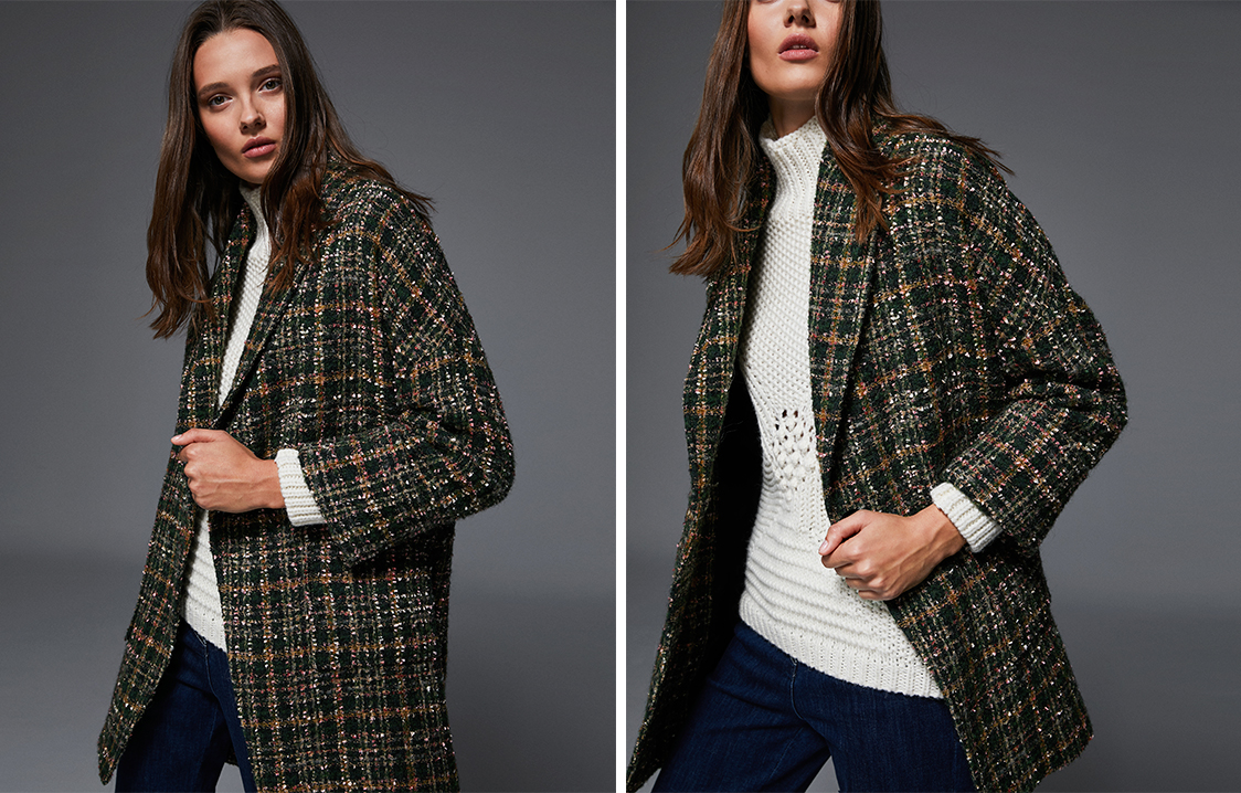 Green checked jacquard three-quarter length jacket