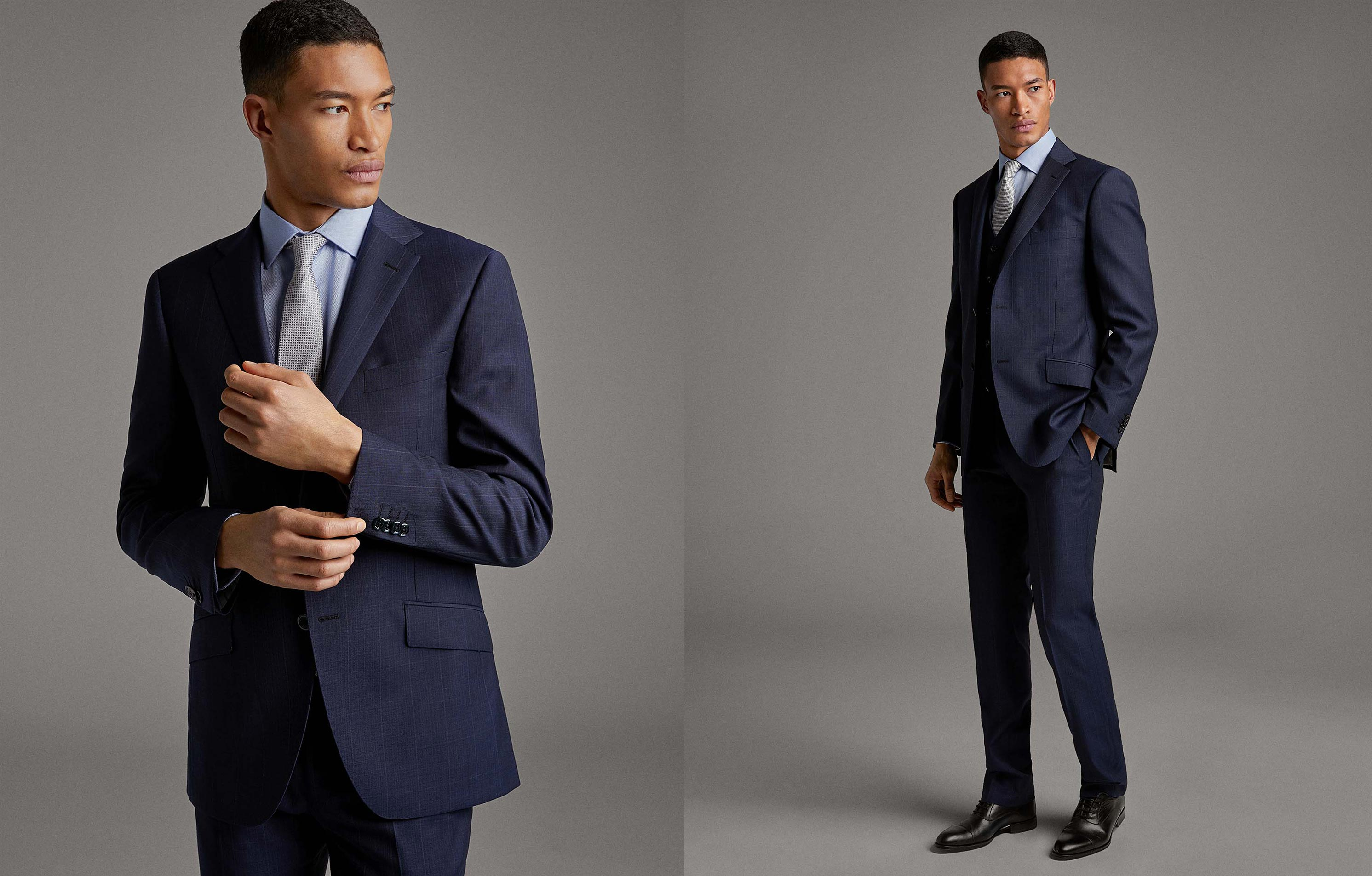 Blue checked virgin wool, regular fit suit
